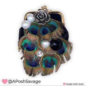 """""""ROYALTY""""Mini Peacock Feath. Coin Purse/Pill """"Box"""""""